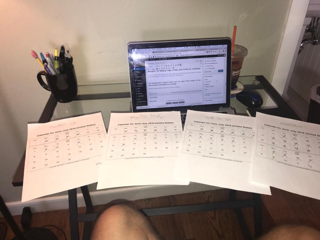 30 day challenge calendars